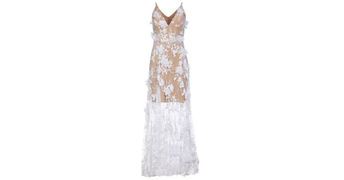 0ac716947a6 Lyst - Dress the Population Sidney Deep V-neck 3d Lace Gown in White