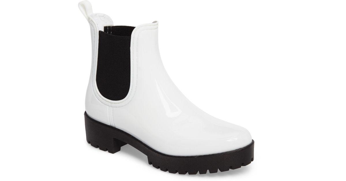 cf865f6b4810 Lyst - Jeffrey Campbell Cloudy Waterproof Chelsea Rain Boot in White