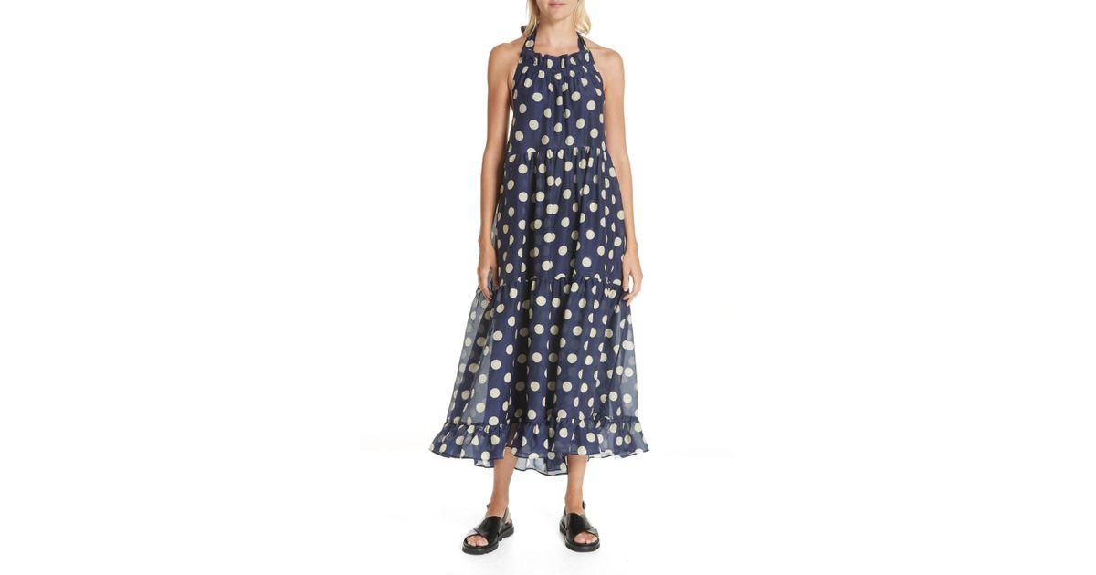 70ab8b9308 Lyst - Lee Mathews Minnie Spot Cotton   Silk Halter Dress in Blue