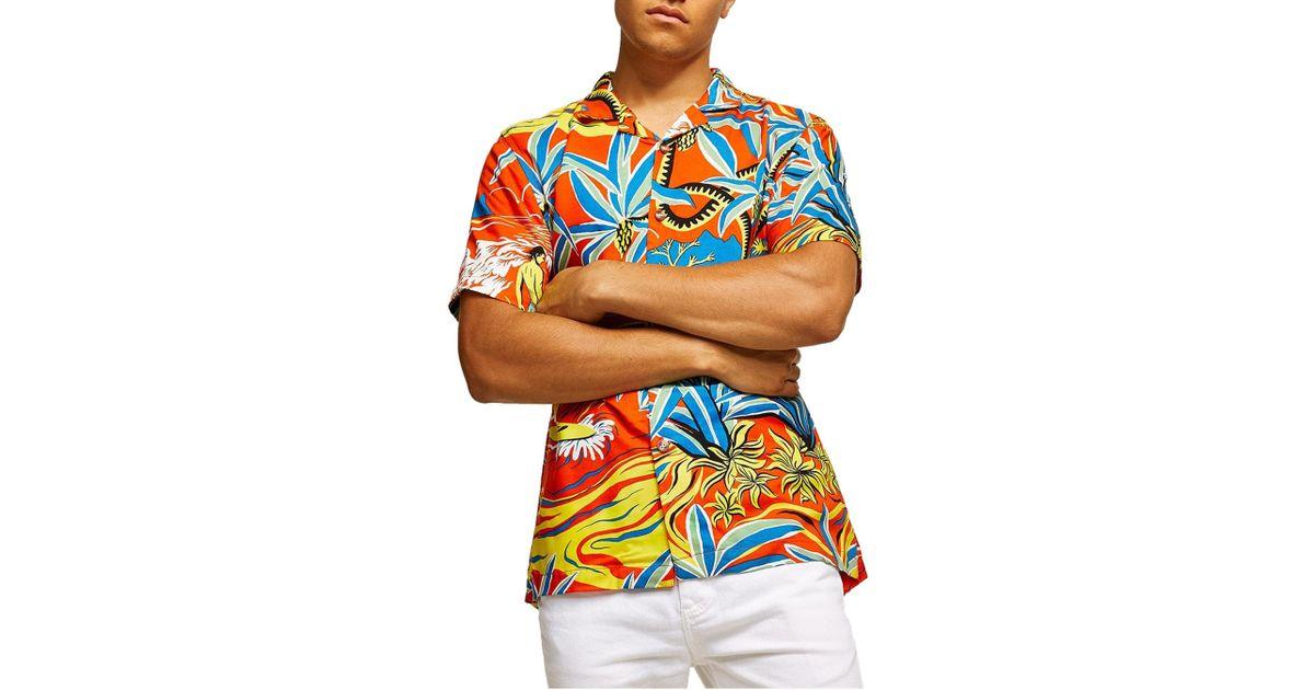 520a5841 Lyst - Topman Hawaiian Classic Fit Shirt in Blue for Men