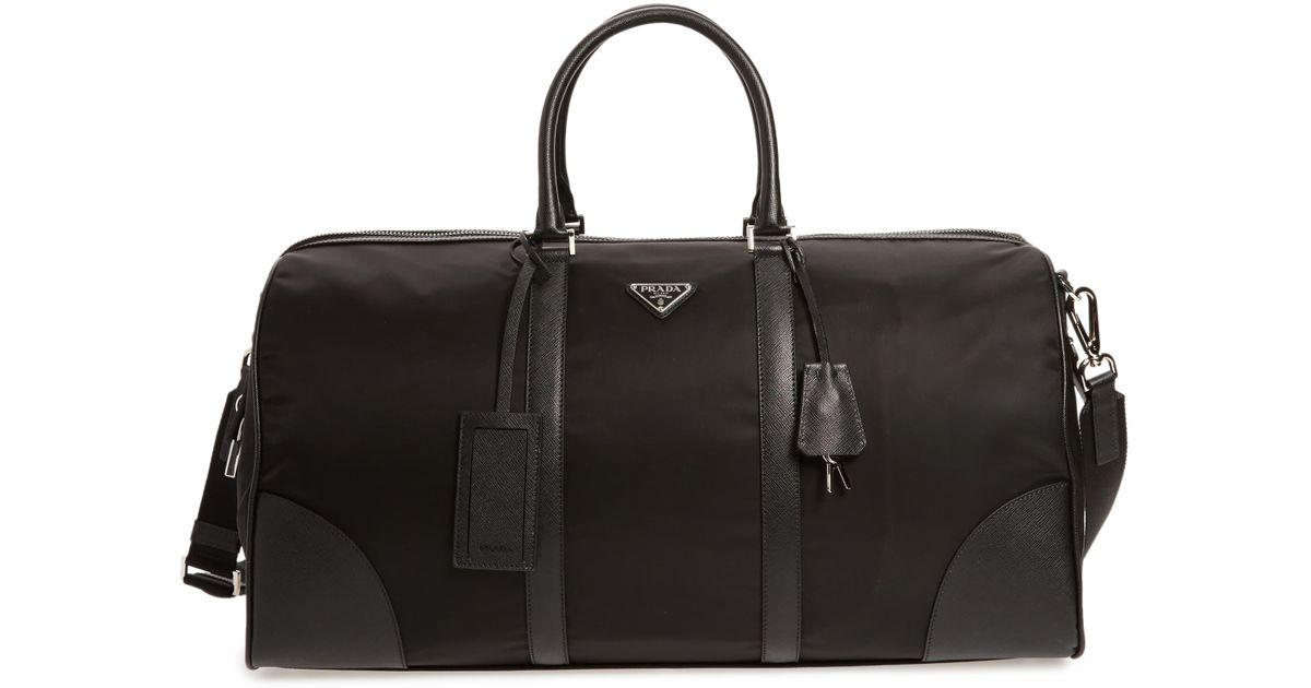 8cf096e4e098ff Prada Nylon & Saffiano Leather Bowling Bag in Black for Men - Lyst