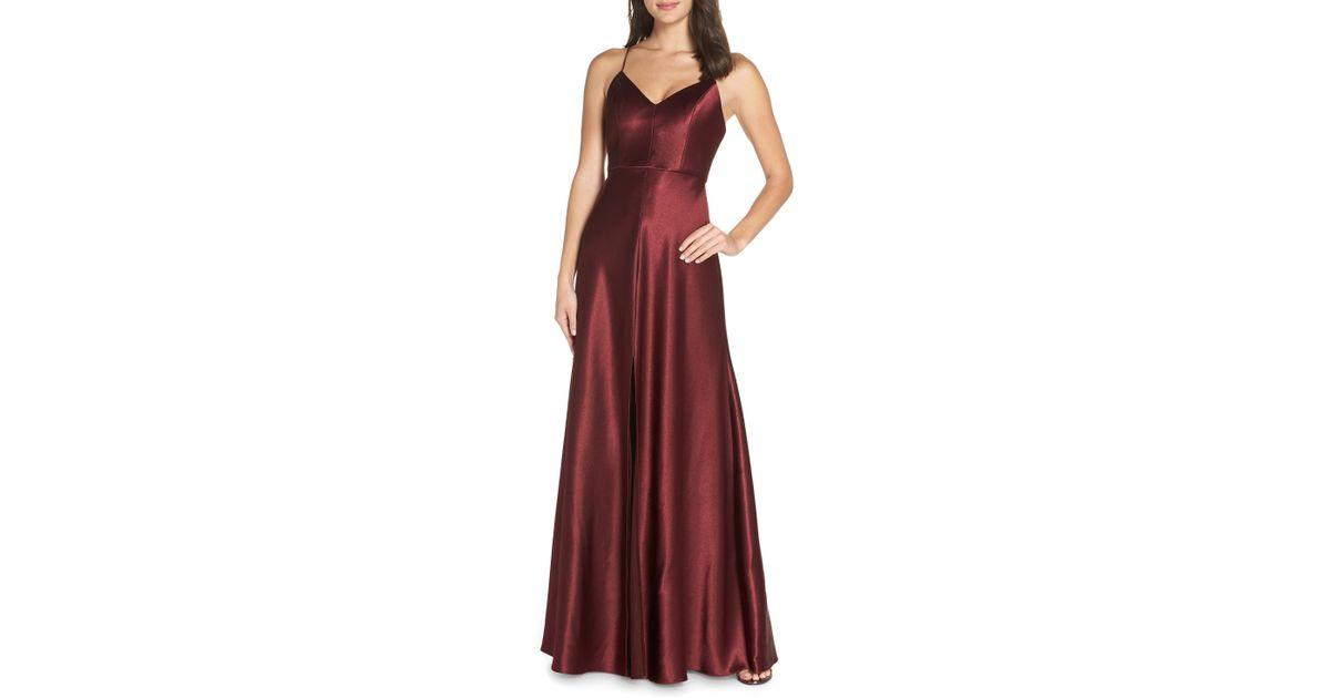 6d95887099a Lyst - Jenny Yoo Dina V-neck Satin Crepe Gown in Black