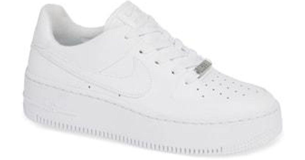 9f8ec9331048 Lyst - Nike Air Force 1 Sage Low Platform Sneaker in White