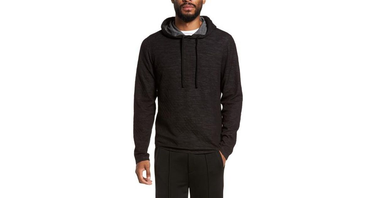 Vince Men/'s Underwood//Heather Carbon Contrast Double Knit Cotton Wool Hoodie