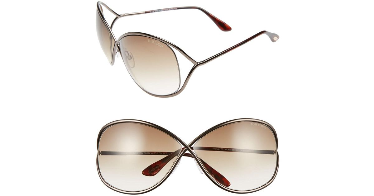 e385add0771c Lyst - Tom Ford Miranda 68mm Open Temple Oversize Metal Sunglasses - in  Brown