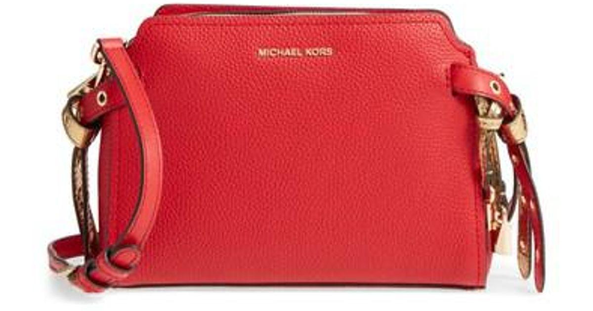6cd52369ace01 Lyst - Michael Kors Medium Lenox Leather Messenger Bag in Red