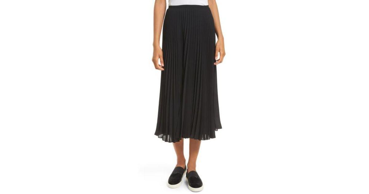d5621cc47 Lyst - Vince Pleated Chiffon Midi Skirt in Black