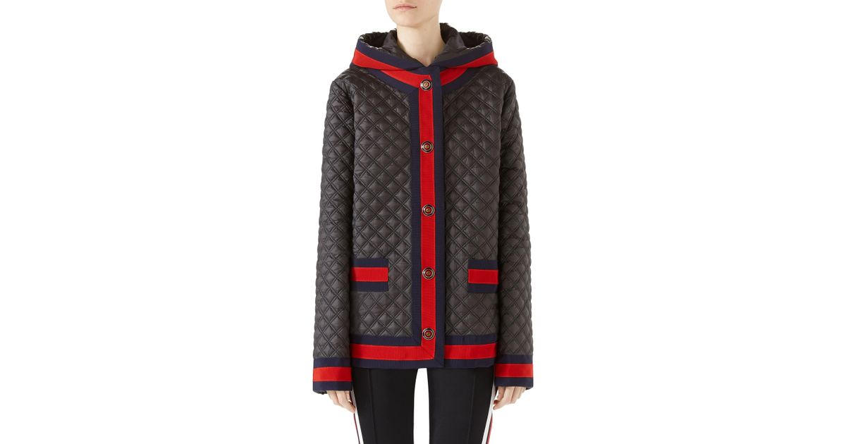 628fcda4c Lyst - Gucci Quilted Caban With Removable Hood