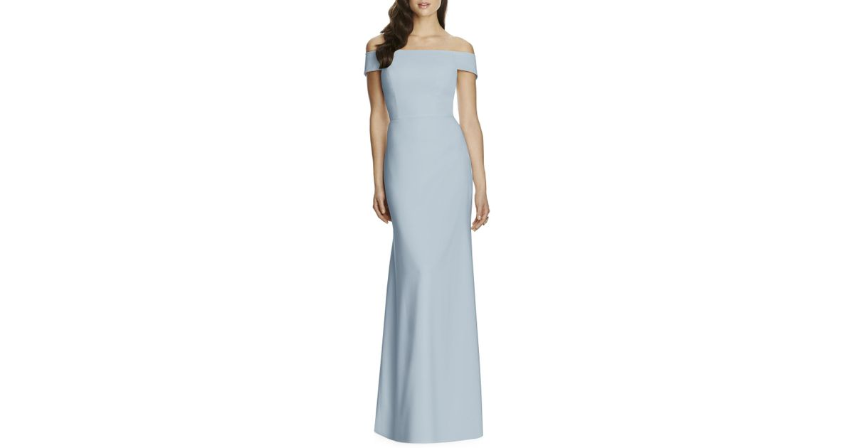 88d32484d8 Lyst - Dessy Collection Off The Shoulder Crepe Gown in Blue