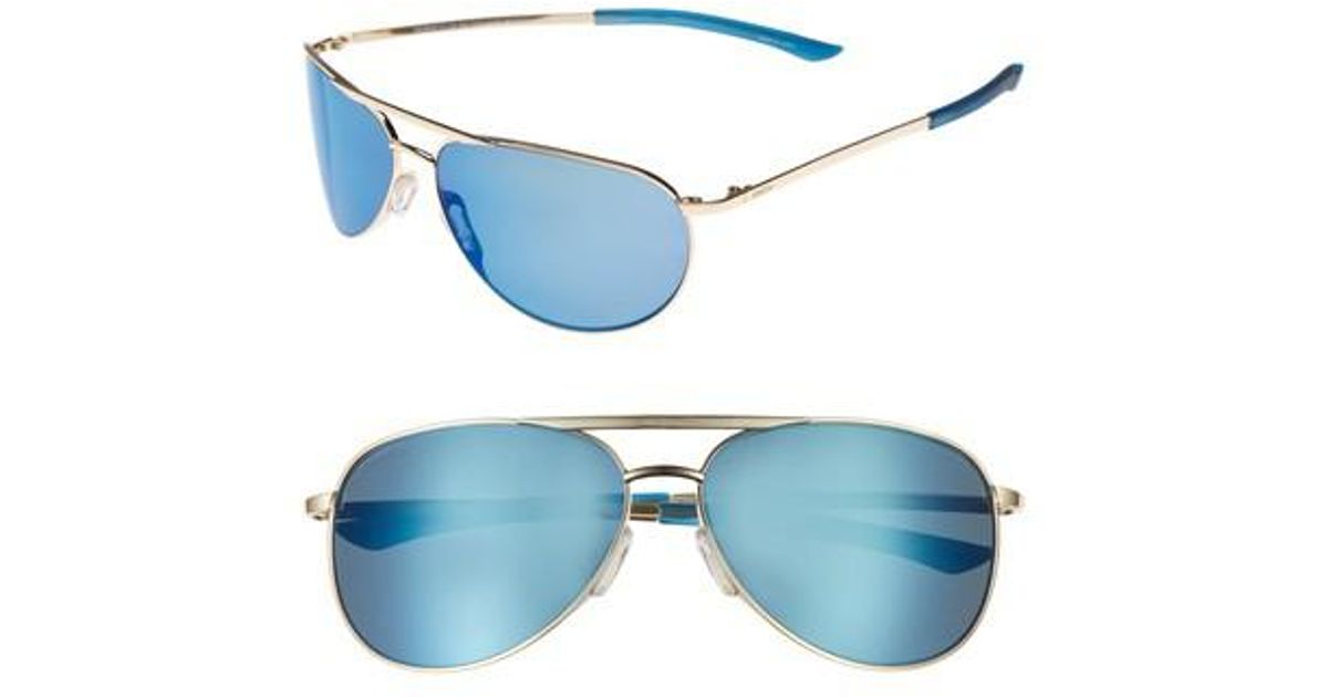 7366d2cb871 Lyst - Smith Serpico Slim 2.0 60mm Chromapop Polarized Aviator Sunglasses  in Blue for Men