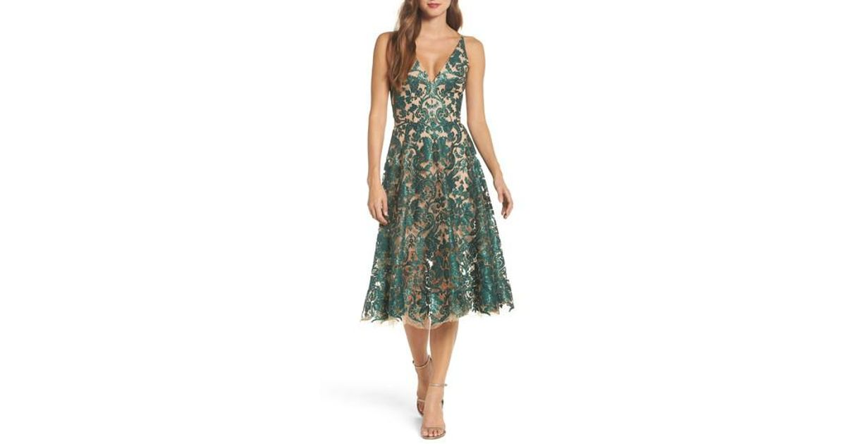6a90ee414a76d Dress the Population Blair Embellished Fit & Flare Dress in Green - Lyst