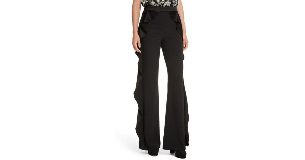 ef0601df1378 Alice + Olivia Wallace Side Ruffle High Waist Pants in Black - Lyst