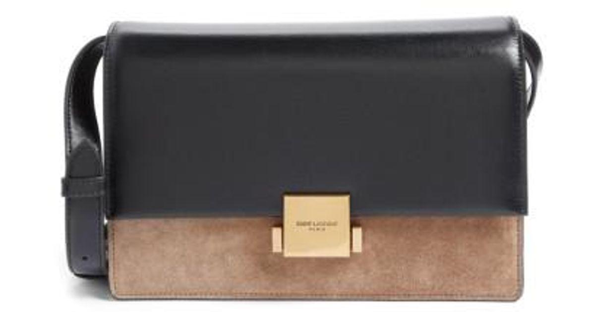 b3165fed22 Lyst - Saint Laurent Medium Bellechasse Suede   Leather Shoulder Bag in  Black