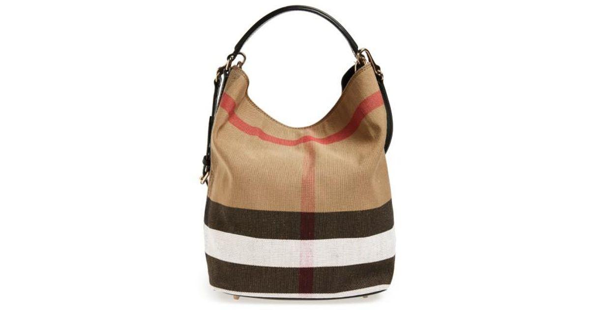 ee91fbb681 Burberry Medium Susanna Check Print Bucket Bag in Brown - Lyst