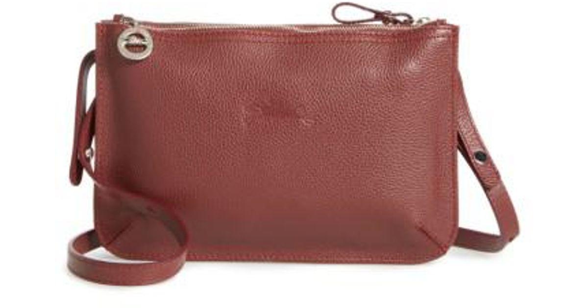 Lyst - Longchamp Le Foulonne Leather Crossbody Bag in Black 93643dd5a60c2