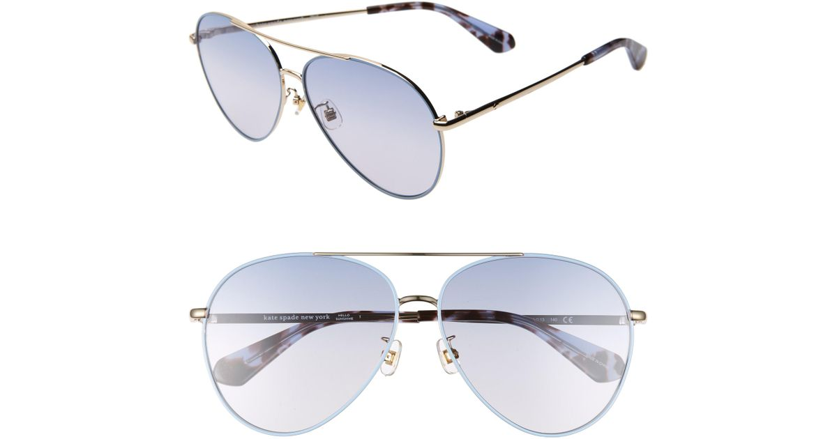8af6c9b3c7 Lyst - Kate Spade Carolane 61mm Special Fit Polarized Aviator Sunglasses in  Metallic