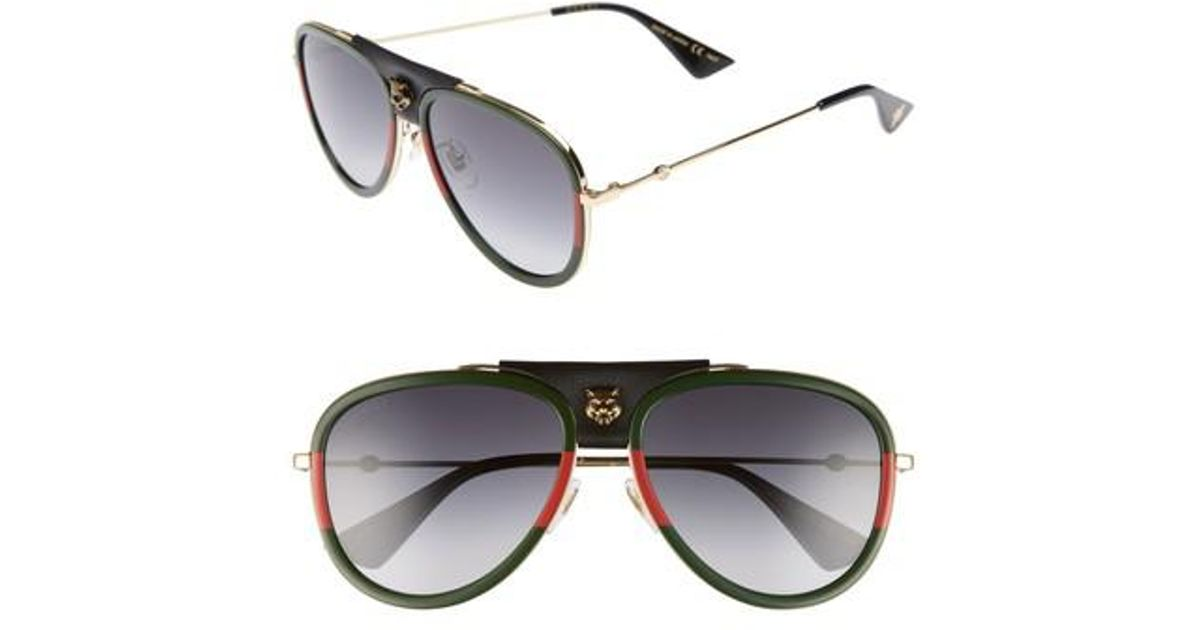 d6d9449375 Gucci Web Block 57mm Leather Aviator Sunglasses in Black for Men - Lyst
