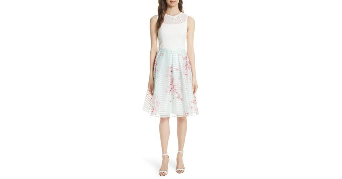 1e9dcf3cf Lyst - Ted Baker Soft Blossom Fit   Flare Dress in Natural