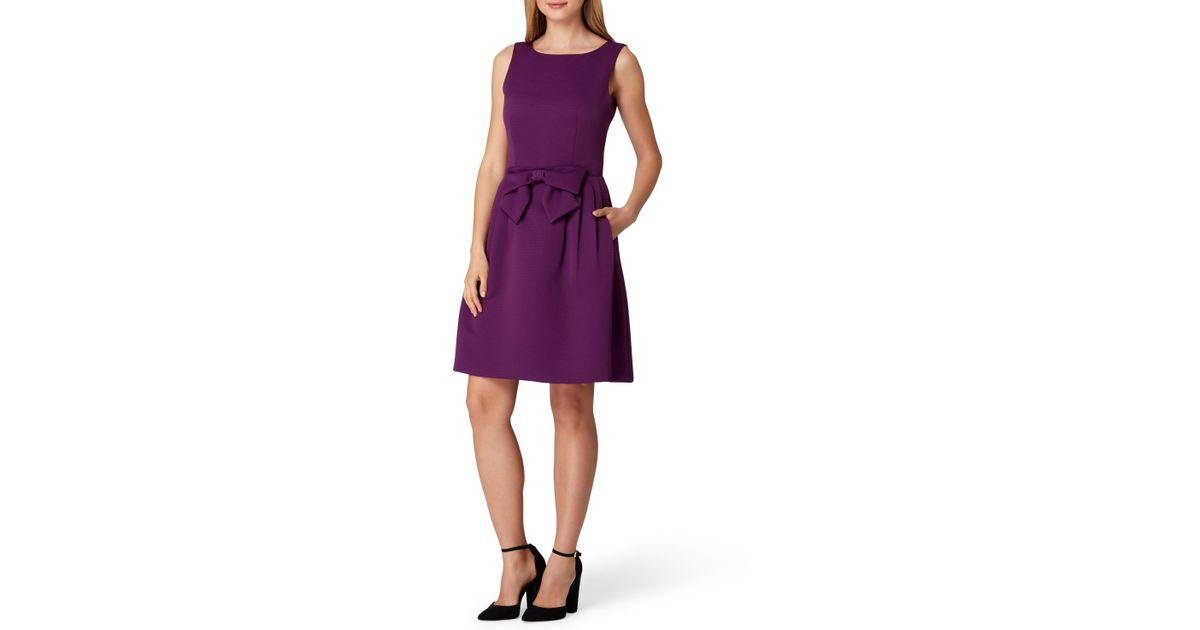 88ee823cc3f Lyst - Tahari Bow Front Waist A Line Dress in Purple