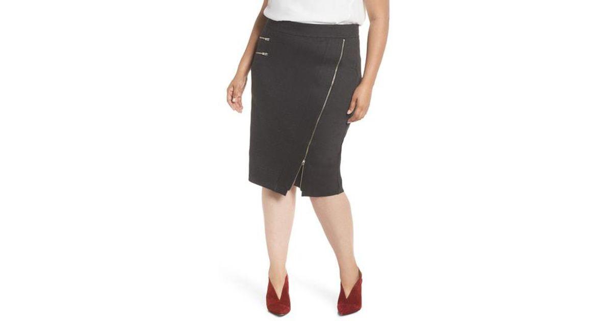 0653187bd0b Lyst - Sejour Zipper Detail Ponte Pencil Skirt (plus Size) in Gray - Save  36%