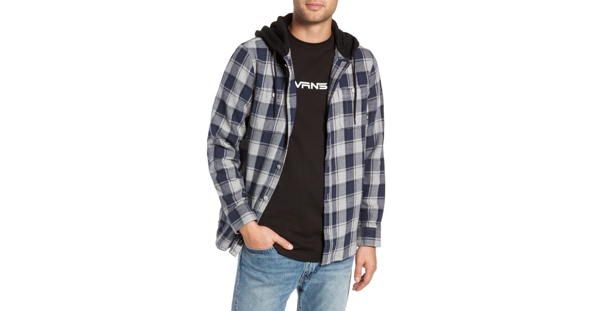 b52ba66dca Vans Lopes Hooded Plaid Flannel Jacket in Gray for Men - Lyst