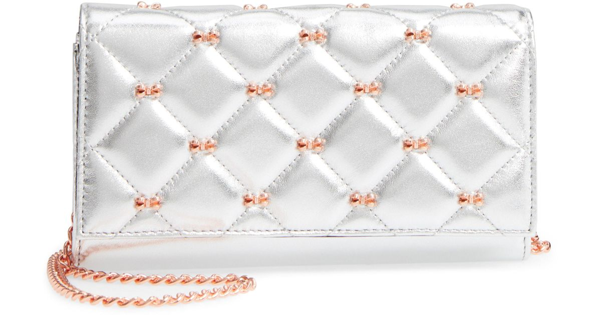 c5818226e Lyst - Ted Baker Quilted Bow Leather Matinee Wallet On A Chain in Gray
