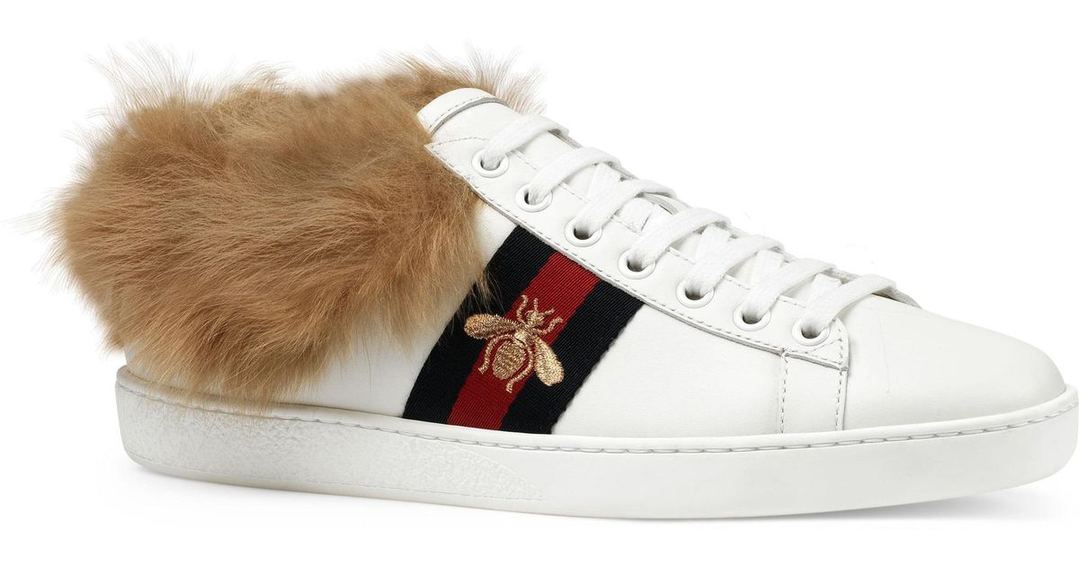 67931ed8873 Lyst - Gucci New Ace Genuine Shearling Lining Sneaker in White