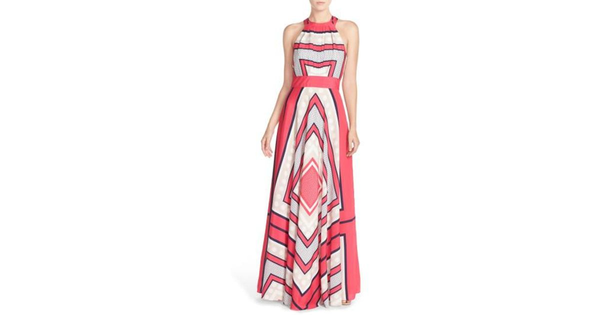 145b13539c43 Eliza J Scarf Print Cr?pe De Chine Fit & Flare Maxi Dress (regular & Petite)  in Pink - Lyst