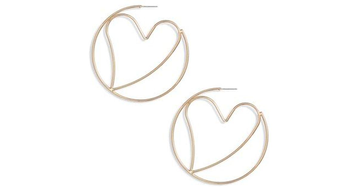 76b263fd2 Lyst - Rebecca Minkoff Large Heart Hoop Earrings in Metallic
