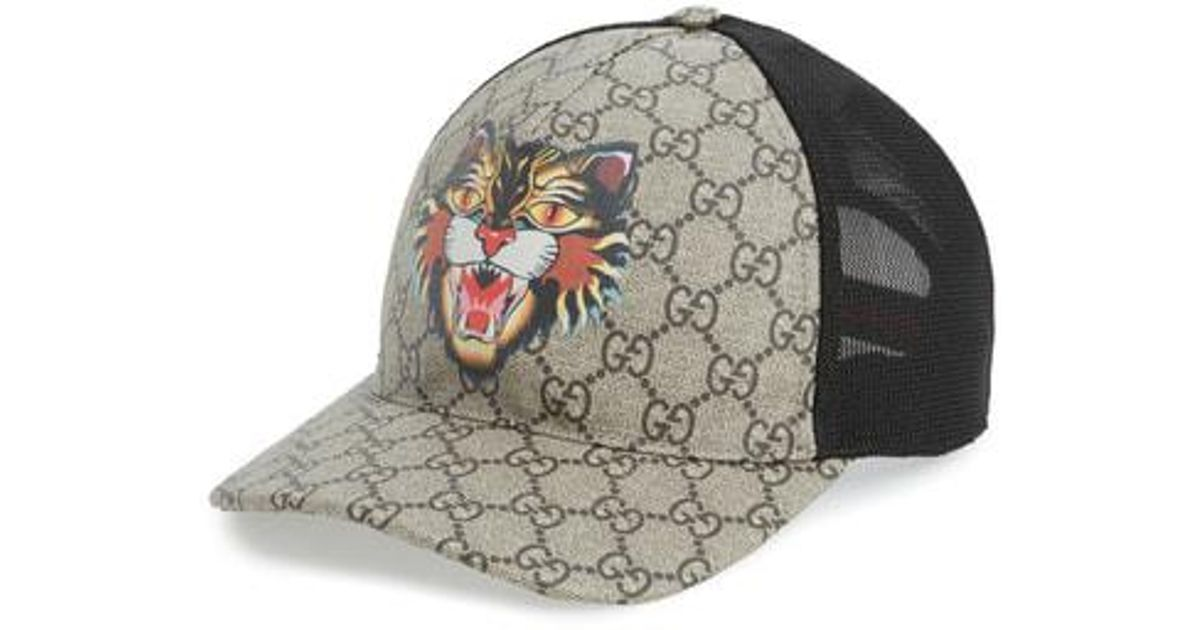 bcf385b915f Lyst - Gucci Gg Supreme Angry Cat Trucker Hat - for Men