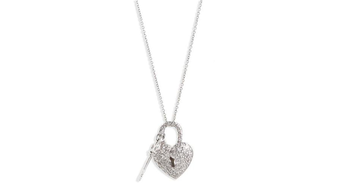 Lyst roberto coin diamond heart lock pendant necklace in metallic aloadofball Images