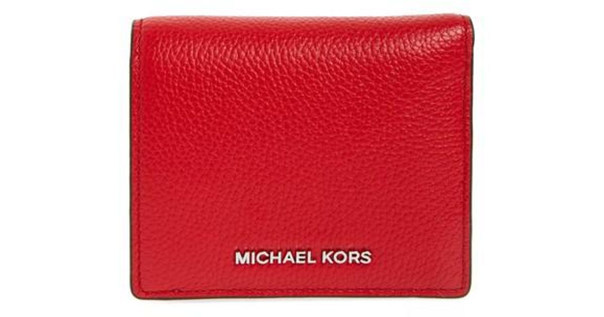 cb0f4b7e3989d Lyst - MICHAEL Michael Kors Mercer Leather Rfid Cardholder Wallet in Red
