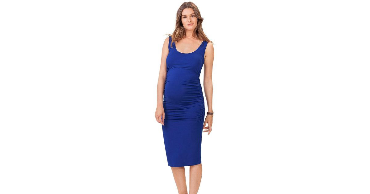 a336ad84d6a Lyst - Isabella Oliver  ellis  Side Ruched Maternity Tank Dress in Blue