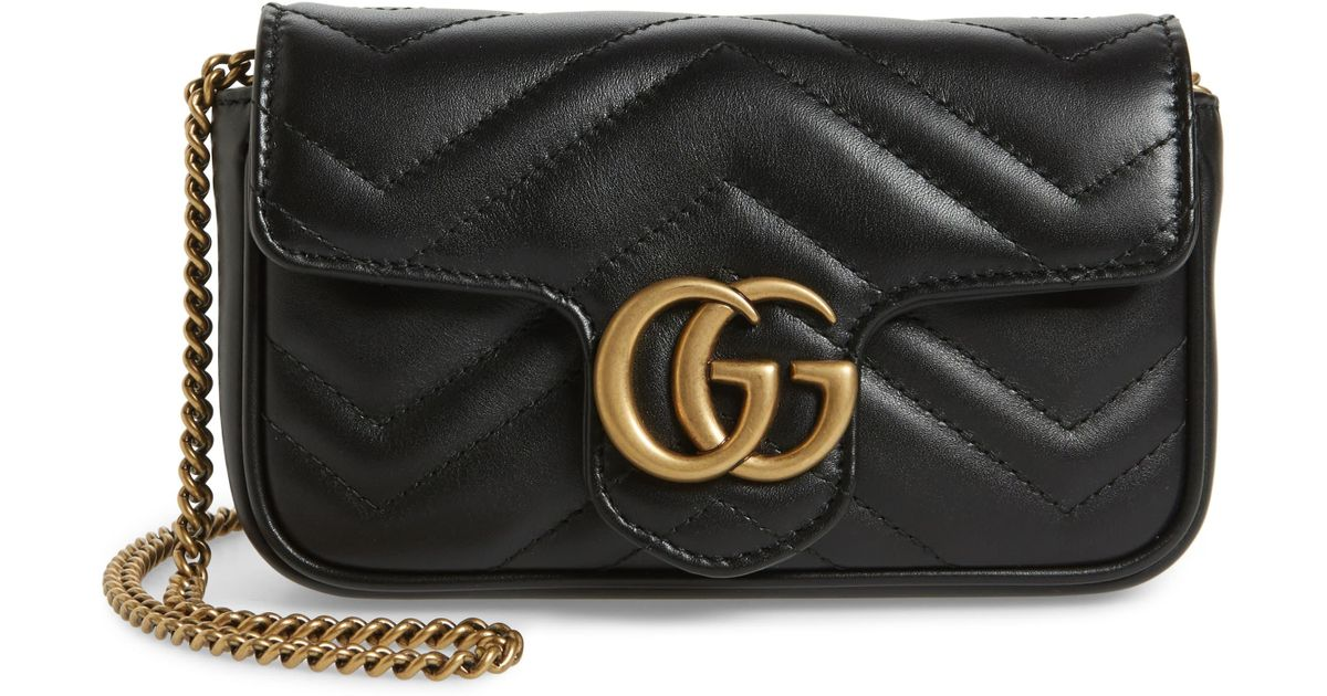 793bd85dd9bf Gucci Supermini Gg Marmont 2.0 Matelassé Leather Shoulder Bag in Black -  Lyst
