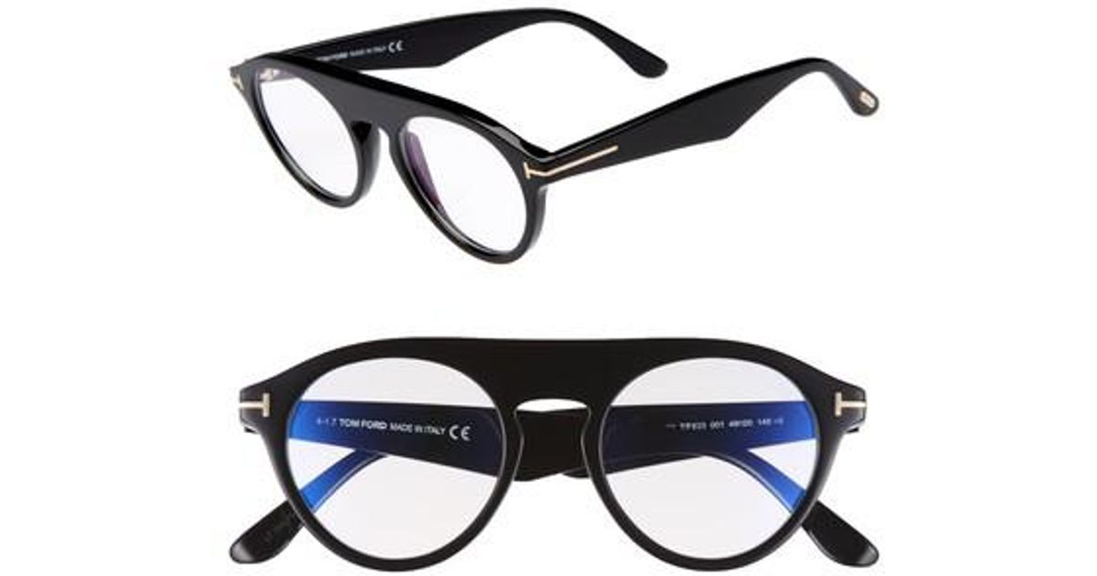 8699778699a Lyst - Tom Ford Christopher 49mm Round Blue Block Optical Glasses in Black  for Men