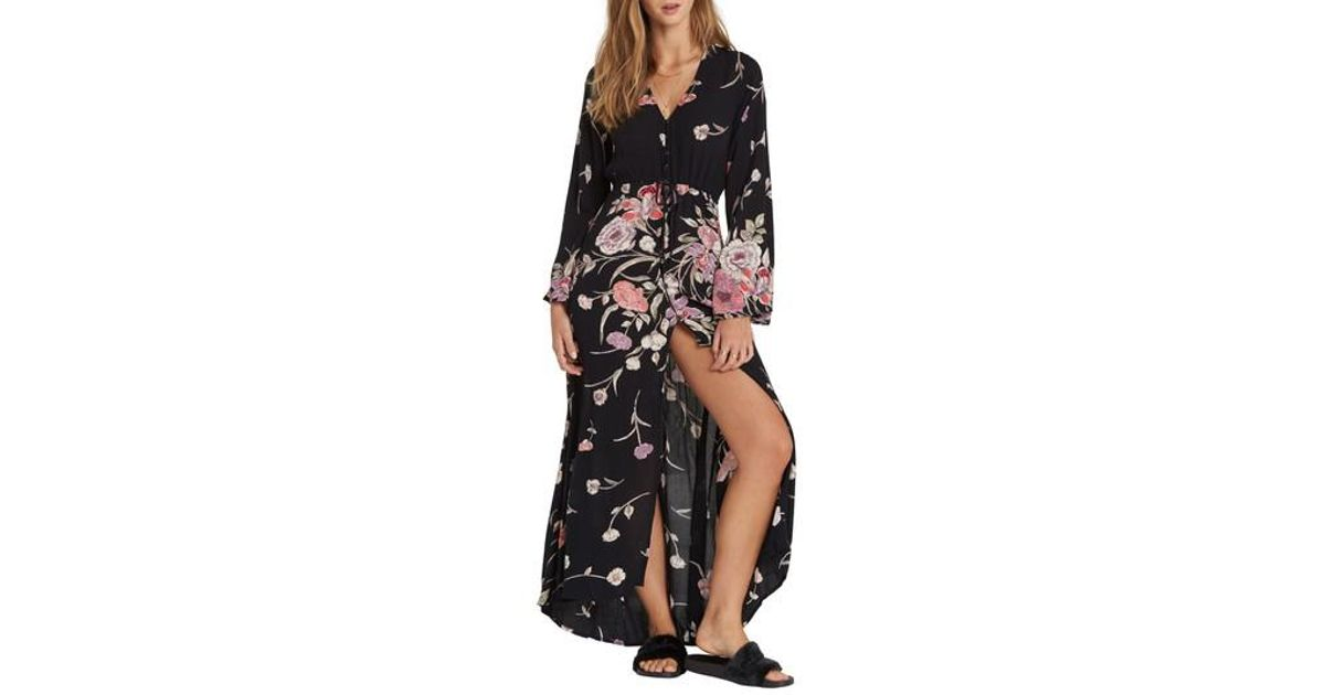 6431f880685 Billabong Desi Kimono Maxi Dress in Black - Lyst