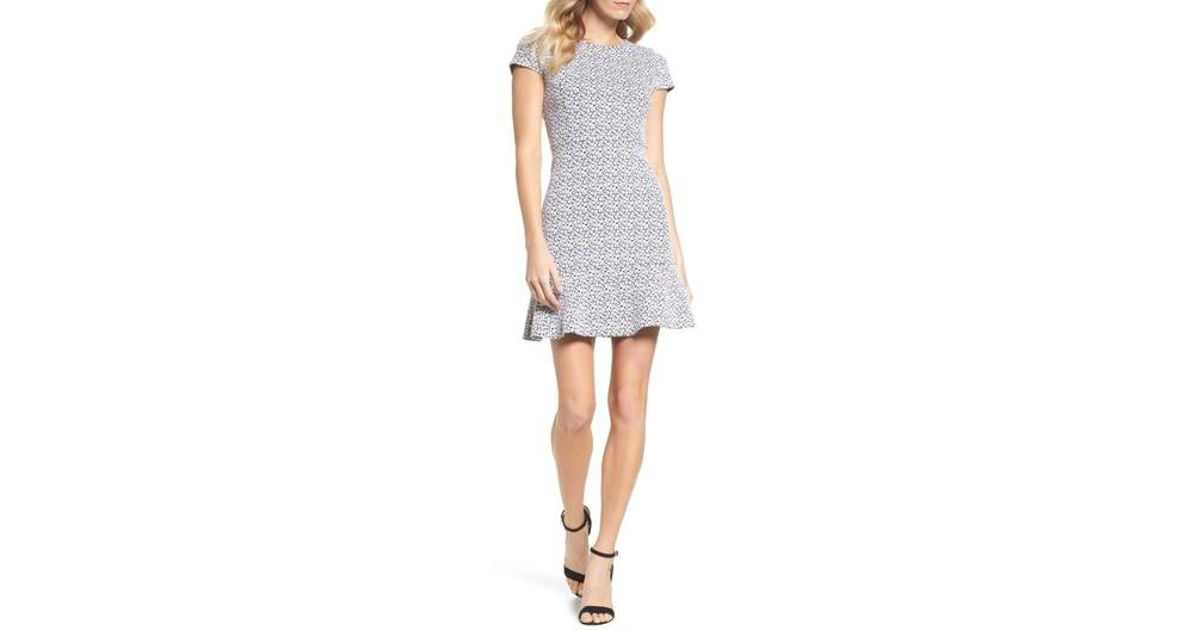 15104c1b9bc Lyst - MICHAEL Michael Kors Floral Knit Jacquard Flounce Dress in White