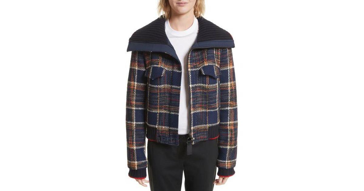 a77ee7f63f Jason Wu Crop Tweed Jacket in Blue - Lyst