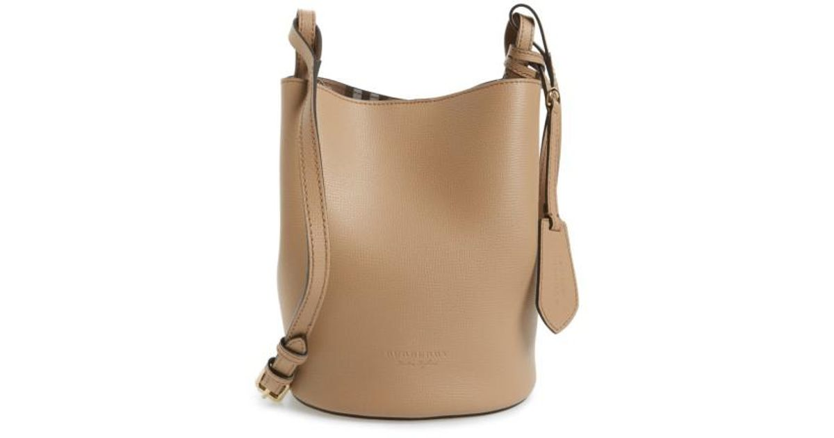 bb42998d1f73 Lyst - Burberry Small Lorne Leather Bucket Bag in Natural