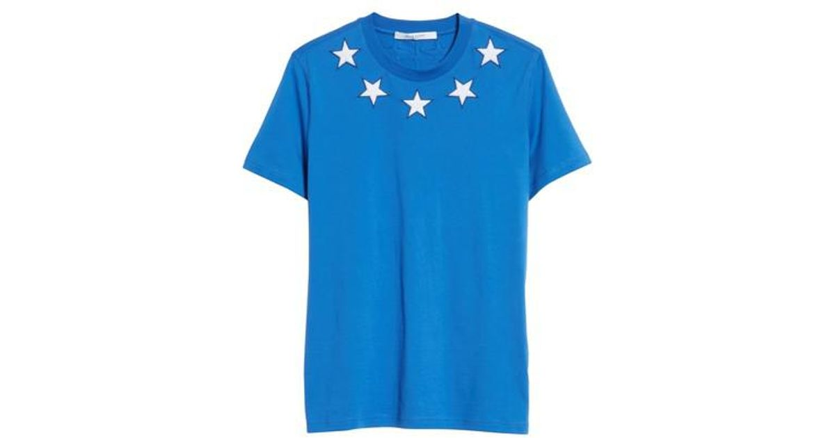 9f165de0ed7aa4 Givenchy Star Applique T-shirt in Blue for Men - Lyst