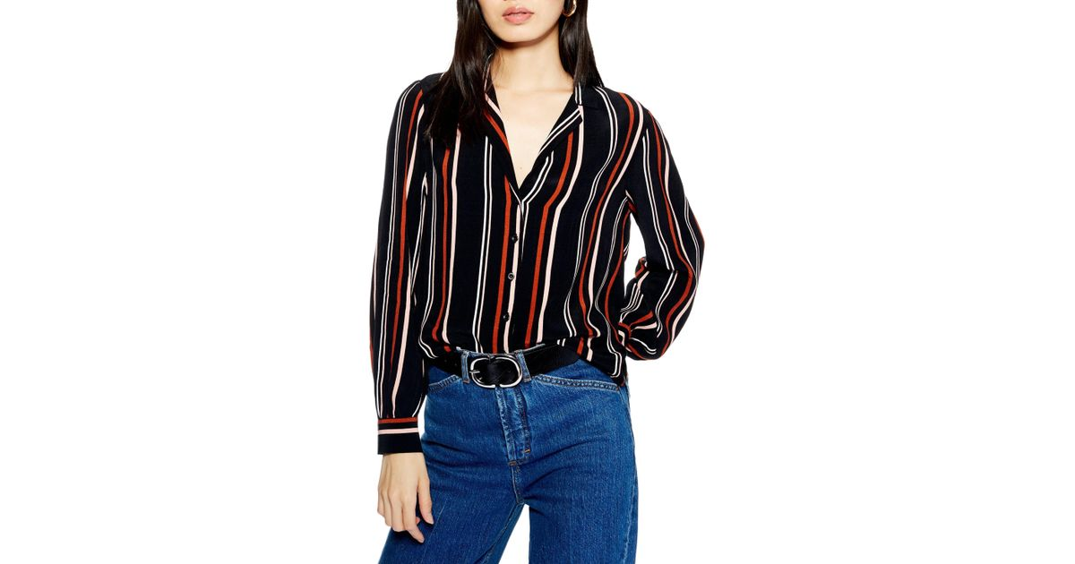 ac62182b1f08 TOPSHOP Jessica Snake Print Shirt in Red - Lyst