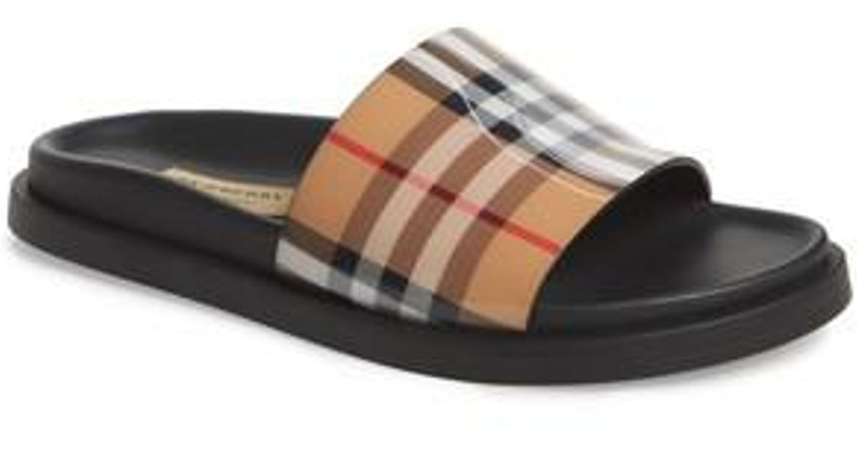 186f78ae8 Burberry Vintage Check Slide Sandal - Lyst