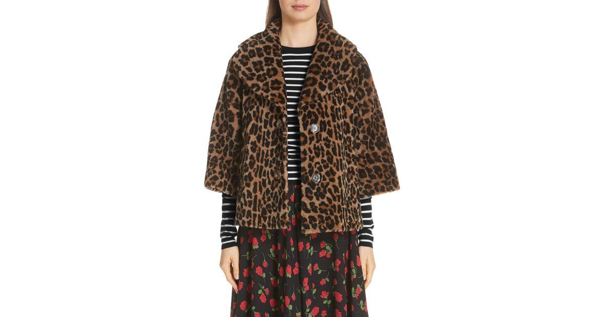 cc3758723d89 Michael Kors Leopard Print Crop Sleeve Genuine Shearling Coat in Brown -  Lyst