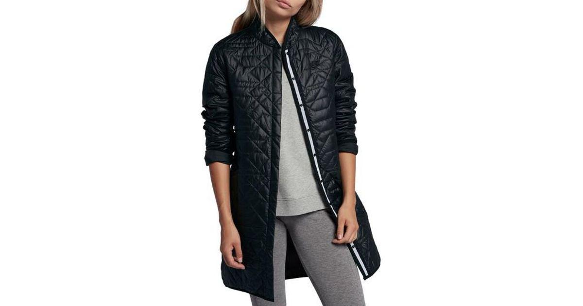 Lyst - Nike Sportswear Quilted Women s Parka in Black 1d779b6aa8