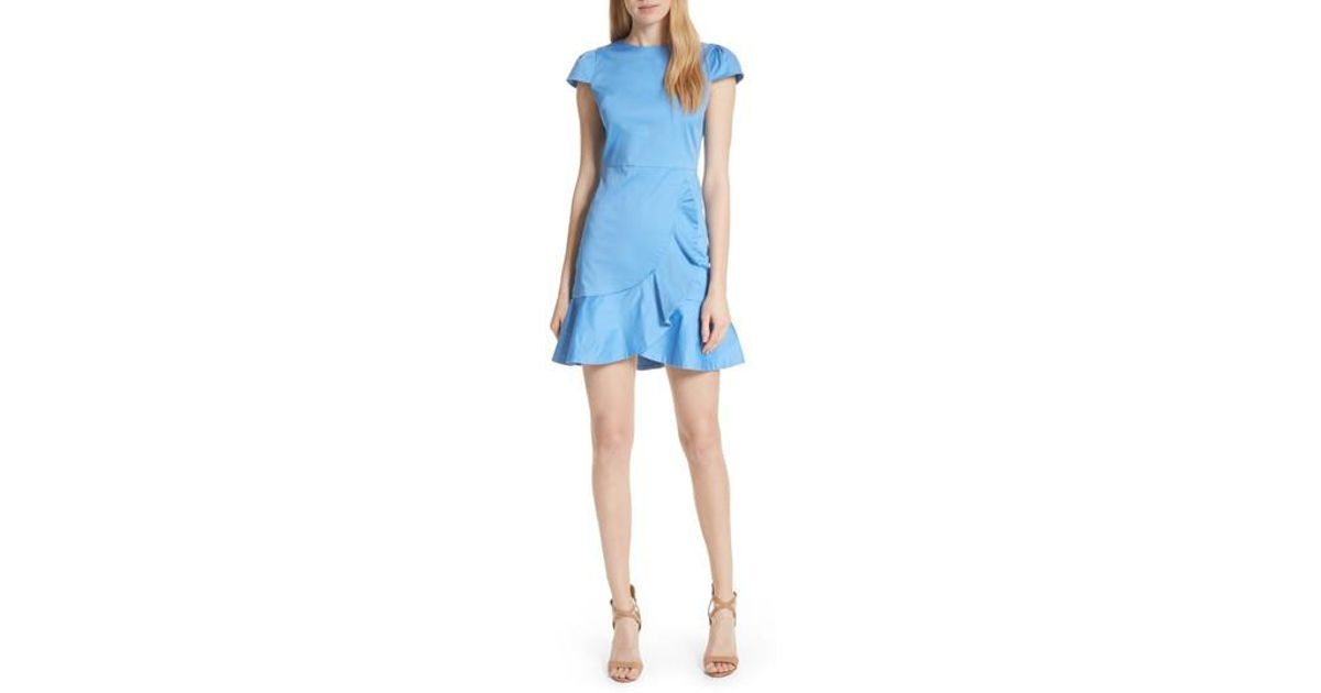 c5036bf3cd851 Lyst - Alice + Olivia Kirby Ruffle Faux Wrap Dress in Blue