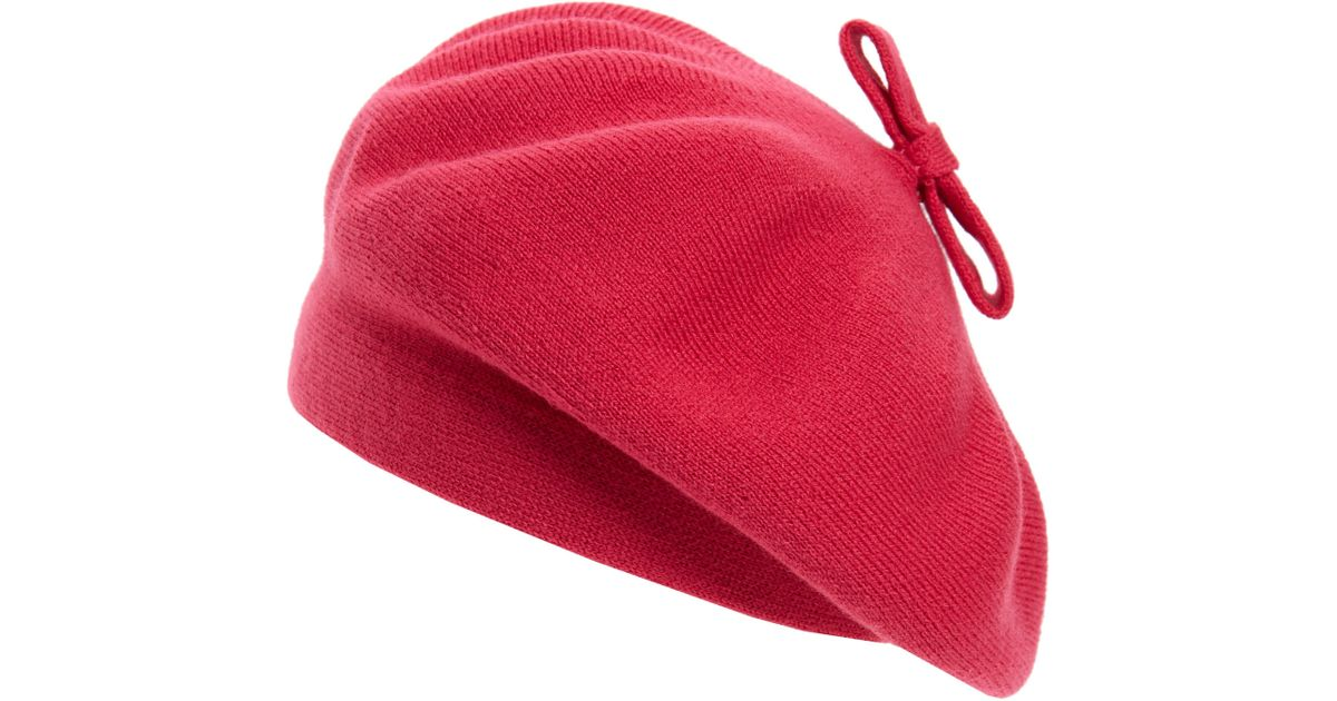 Lyst - Kate Spade Tab Bow Beret in Pink a2c2f970c74