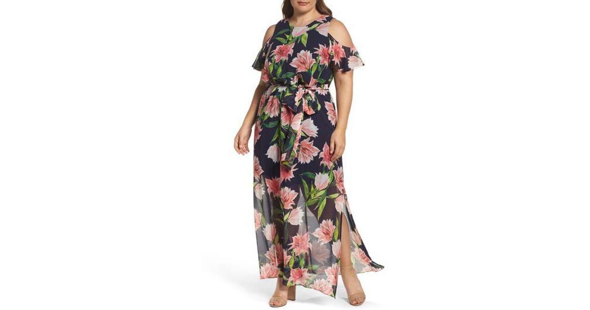 e9bfee7f480ca Lyst - Eliza J Floral Chiffon Cold Shoulder Maxi Dress