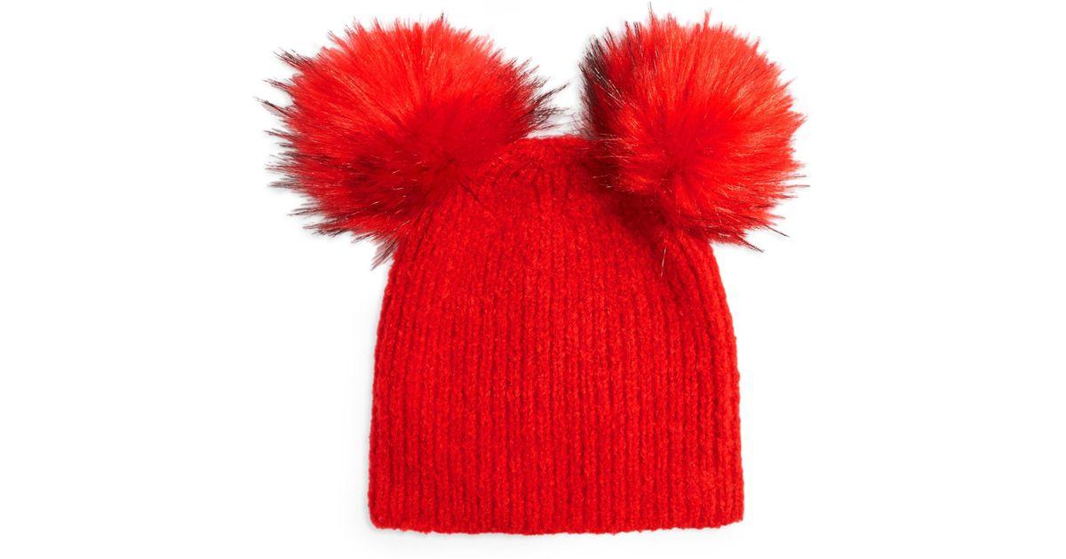 7d72f922299 Lyst - Topshop Faux Fur Double Pompom Beanie -
