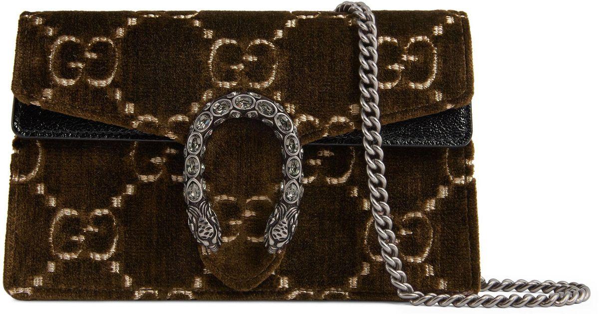 871ab053992 Lyst - Gucci Supermini Dionysus Double G Velvet Shoulder Bag