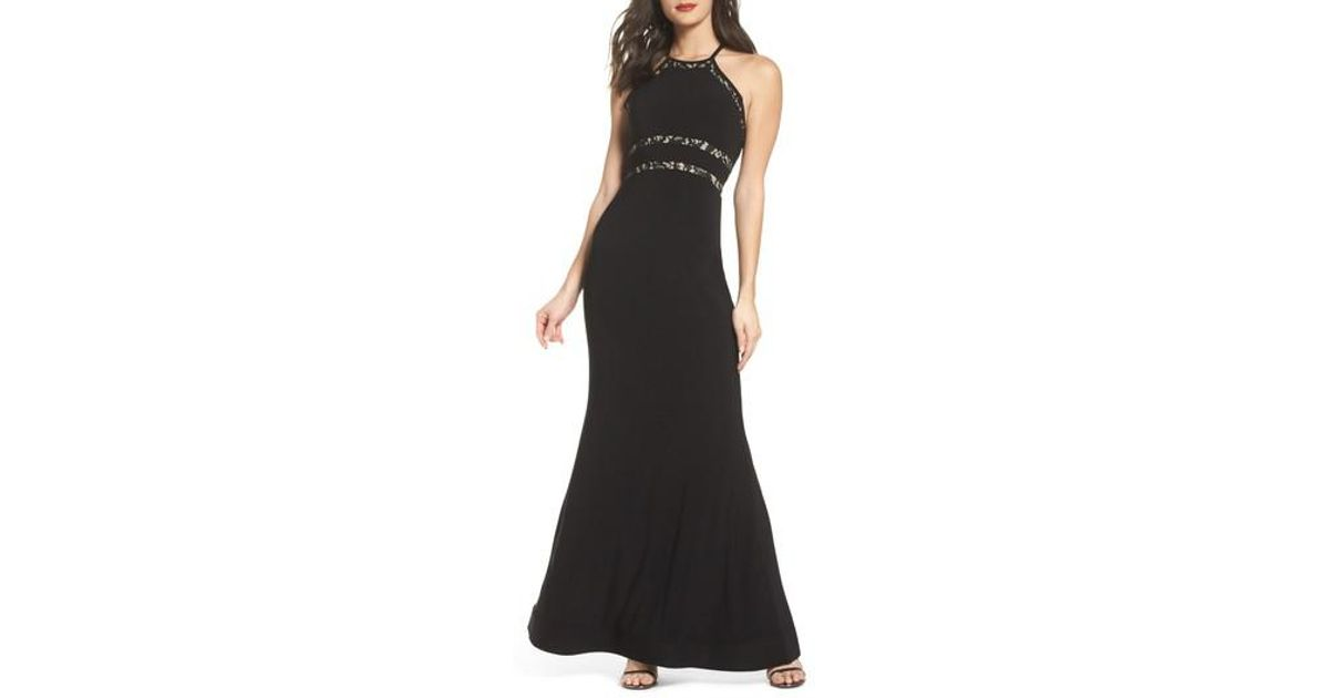 0ce31e8d46b Lyst - Sequin Hearts Ruffle Back Halter Gown in Black